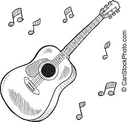 Acoustic guitar sketch - Doodle style acoustic guitar in...