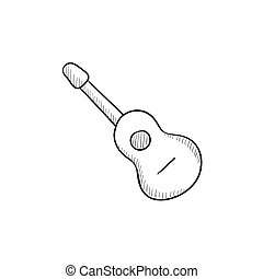 Acoustic guitar sketch icon.