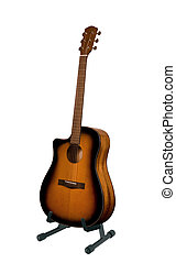 acoustic guitar stand on a white background