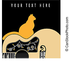 Acoustic guitar with a cat, vector background