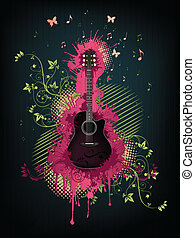 Acoustic Guitar With Abstract Swirl isolated on Background. Vector.