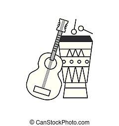 acoustic guitar with bongo drum