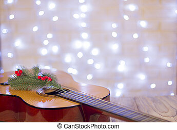 Acoustic guitar with christmas decoration. Christmas music ...