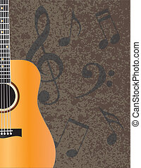 Acoustic Guitar with Musical Notes Illuustration - Acoustic...