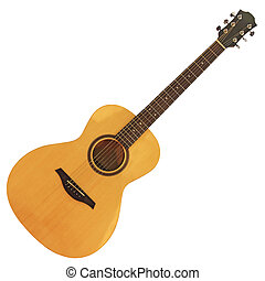 Acoustic guitar2 - Yellow wooden acoustic guitar isolated on...