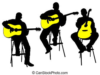 Acoustic guitarist - Vector drawing of a man with an ...
