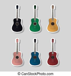 Acoustic guitars different color