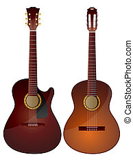 Acoustic Guitars - Isolated image of acoustic guitars on ...
