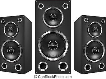 Acoustic Loudspeaker - Acoustic System Isolated on White...