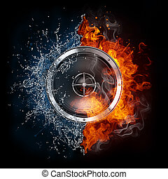 Loudspeaker on Fire and Water Isolated on Black Background