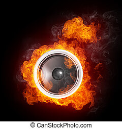 Acoustic Loudspeaker - Loudspeaker on Fire Isolated on Black...