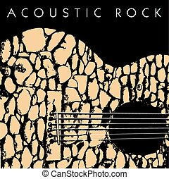 acoustic rock - A depiction of an acoustic guitar made of...