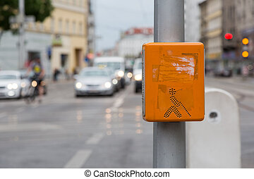 Acoustic signal system for blind people on a zebra crossing