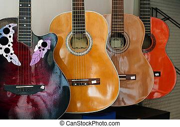 acoustique, commandé, guitares