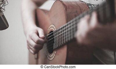 acoustique, main, fretboard, jeux, closeup, guitar.,...