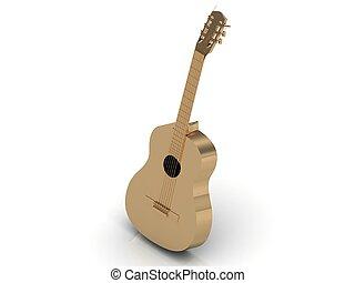 acoustique, or, doré, fait, instruments à cordes, guitare