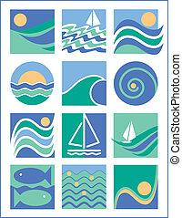 acqua, 1, collezione, icone