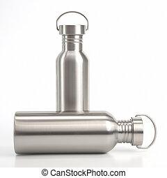 acqua, acciaio, fiaschi, bianco, fondo., bere, utensili,...