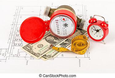 acqua, allarme, tape-measure, metro, orologio
