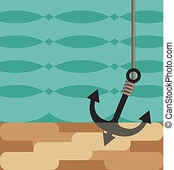 acqua, ancorare, stilizzato, sotto