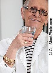 acqua, anziano, donna, bere