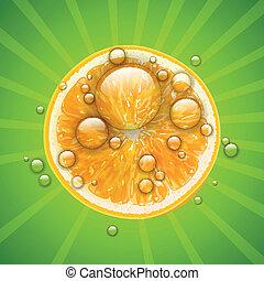 acqua, arancia, frutta, gocce, vettore