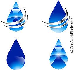 acqua, astratto, goccia, set