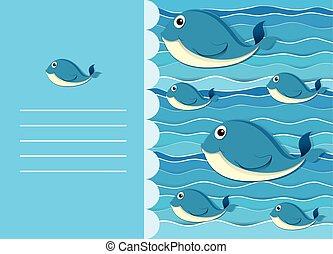 acqua, balena, carta, disegno