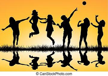 acqua, bambini giocando