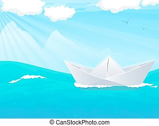 acqua, barca carta