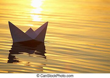 acqua, barca carta, navigazione, onde