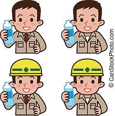 acqua, bere, lavoratore