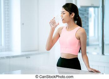 acqua, bevanda, signora, asiatico