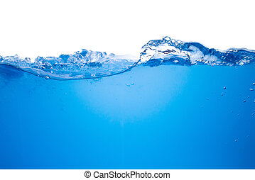 acqua blu, fondo, onda