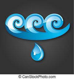 acqua, blue-gray, fondo, segno