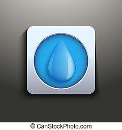 acqua, bottone, goccia, aqua