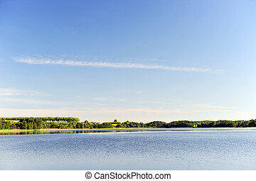 acqua calma, di, lago