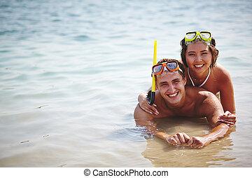 acqua, coppia, felice