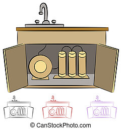 acqua, cucina, filtrazione, sistema, lavandino