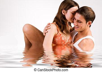 acqua, dolce, coppia, godere, giovane