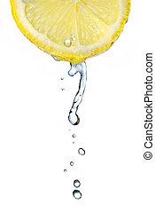 acqua dolce, goccia, su, limone, isolato, bianco