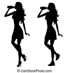 acqua, donna, bere