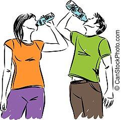 acqua, donna, illustrazione, uomo, vettore, idoneità, bere