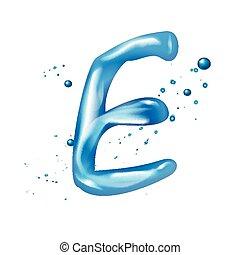 acqua, e, lettera, 3d