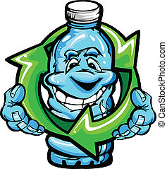 acqua, felice, cartone animato, bottiglia, plastica