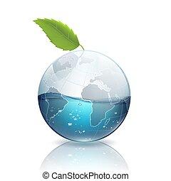 acqua, foglia verde, terra