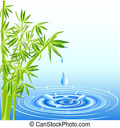 acqua, foglie, cadere, bambù, gocce