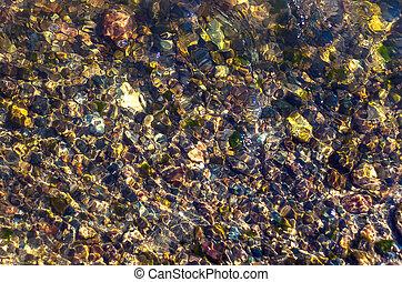 acqua, fondo., organico, brillio, ciottoli, colorito, ripples., naturale