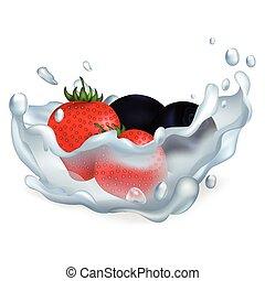 acqua, fragole, mirtilli, illustrazione