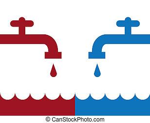 acqua, freddo, rubinetto, caldo